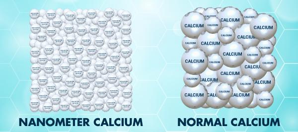 Nanometer Calcium has much smaller size than normal Calcium